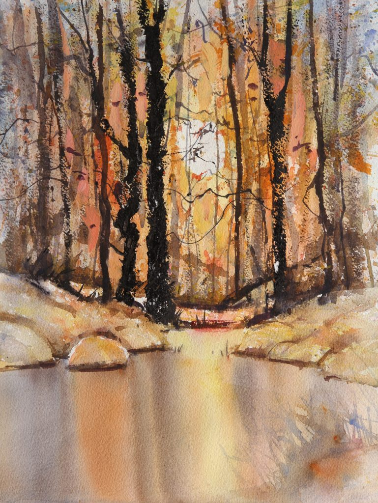 Rex Beanland, Cameron Pond, watercolour, 20 x 14