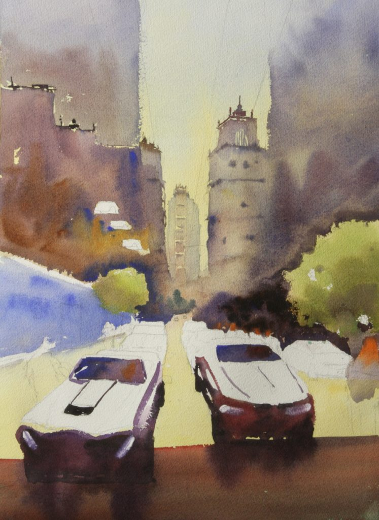 Rex Beanland, Chargin' Phase 1, watercolour, 21 x 14
