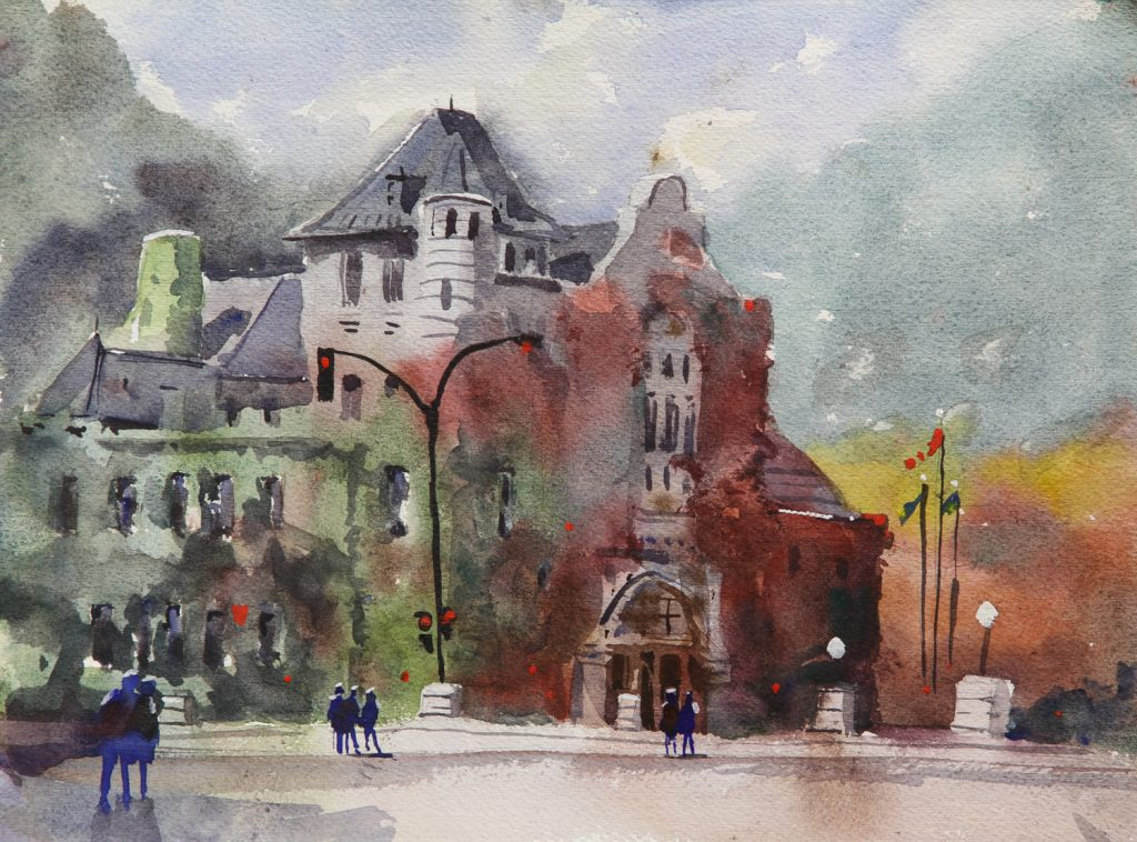 Rex Beanland, Nelson Court House, watercolour, 9 x 12