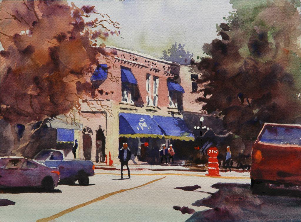 Rex Beanland, Nelson Street Corner, watercolour, 9 x 12