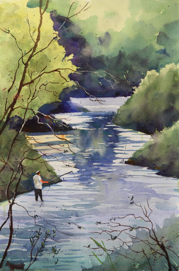 Rex Beanland, Toronto Pond, watercolour, 21 x 14