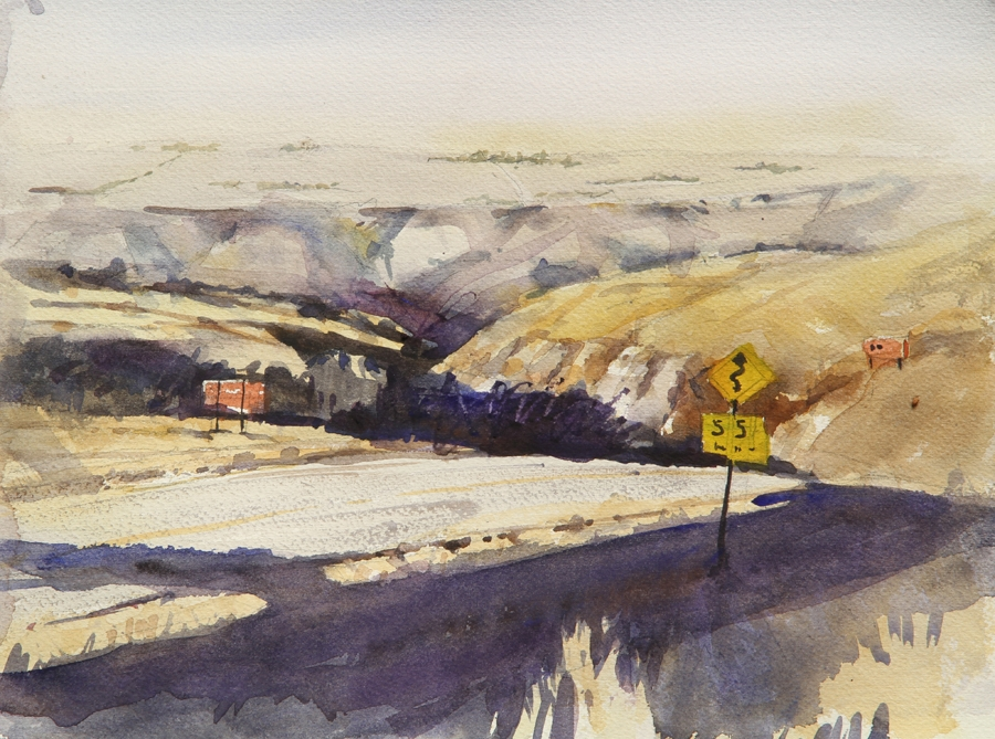 Rex Beanland, Down To Drumheller, watercolour, 12 x 16