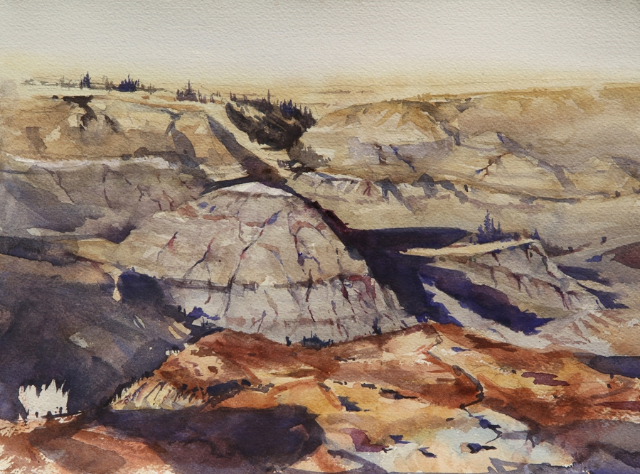 Rex Beanland, Horseshoe Canyon 1, watercolour, 9 x12