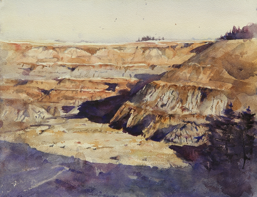 Rex Beanland, Horseshoe Canyon 2, watercolour, 12 x 16