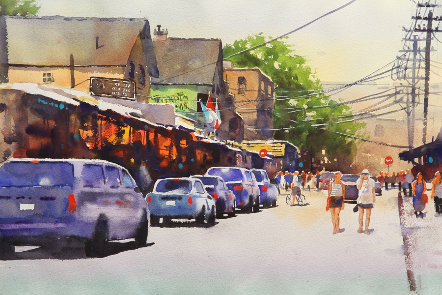 Rex Beanland, Kensington Market, watercolour, 14 x 21