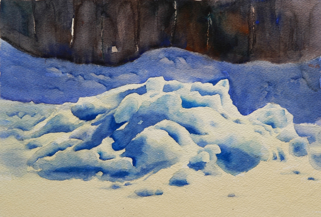Rex Beanland, Snow Study, watercolour, 9 x 12