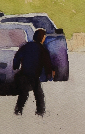 Rex Beanland, On The Hill Detail, watercolour,