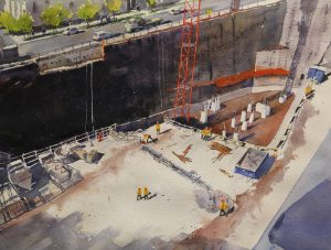 Rex Beanland, Construction Season, Vancouver, watercolour, 14 x 21