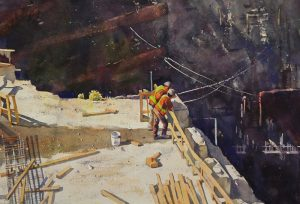 Rex Beanland, In The Pit: The Conversation, watercolour, 14 x 21