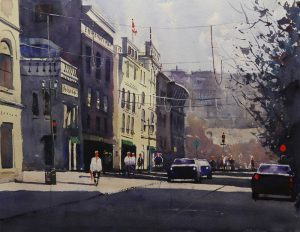 Rex Beanland, 8th and Centre, watercolour, 15 x 20
