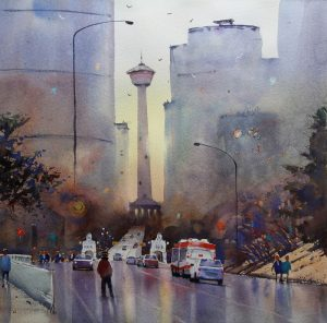 Rex Beanland, Early Morning, Welcome To Calgary, watercolour, 18 x 18