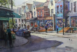 Rex Beanland, Conversation Interrupted, Kensington Market, watercolour, 20 x 30
