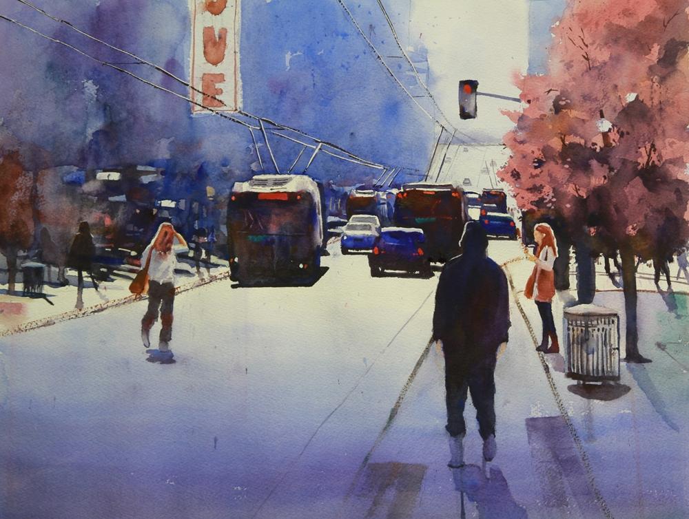 Rex Beanland, Granville Street, watercolour, 15 x 20