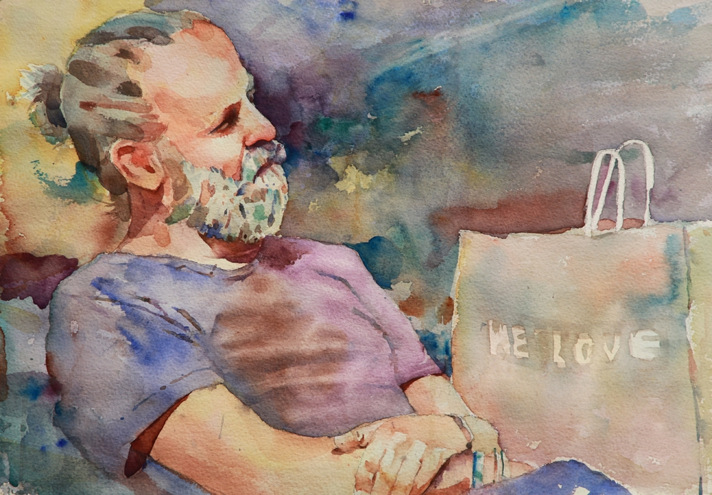 Rex Beanland, Guy Pondering, Watercolour, 14 x 21