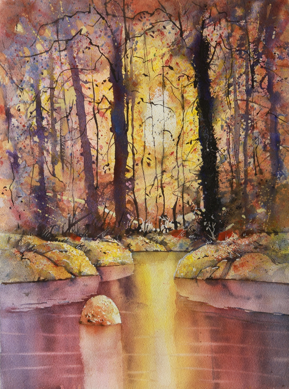 Rex Beanland, Cameron Pond 2, watercolour 20 x 15