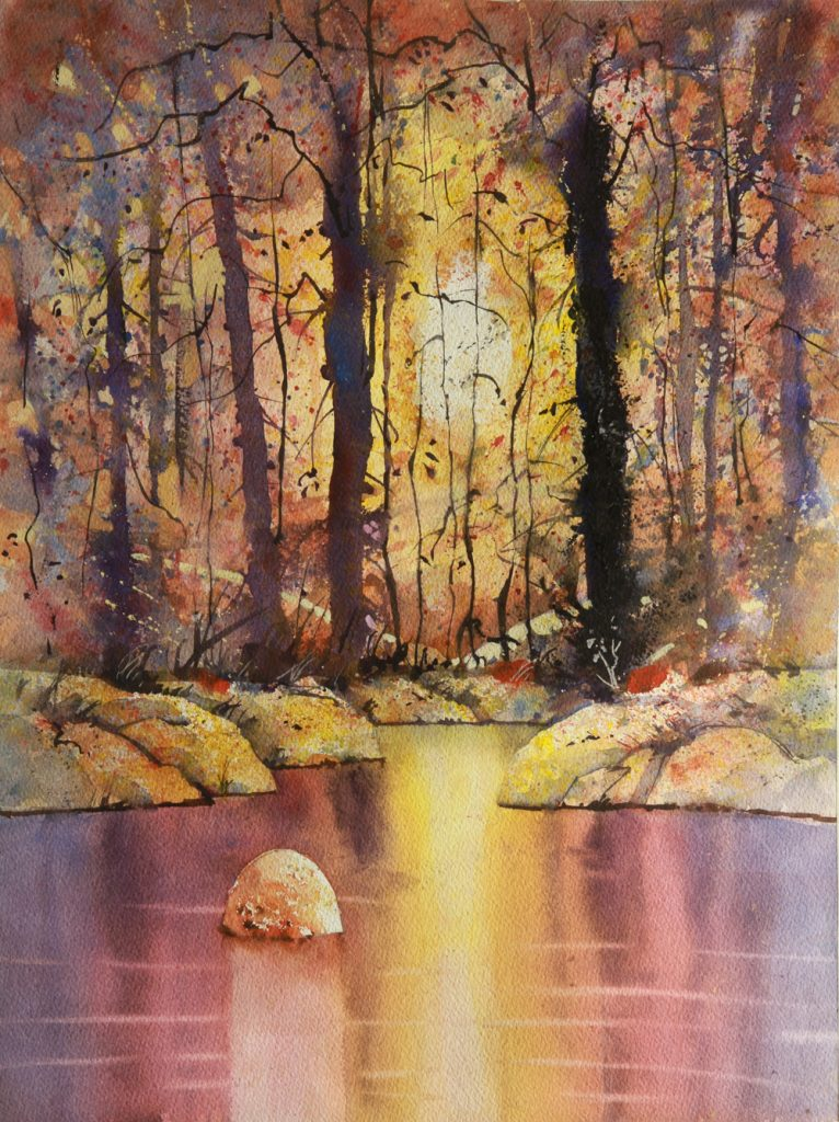 Rex Beanland, Cameron Pond After Workshop, watercolour, 20 x 15