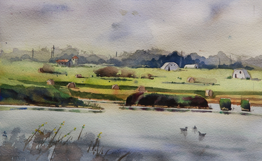 Rex Beanland, Glenmore Pond Close, watercolour, 8 x 11