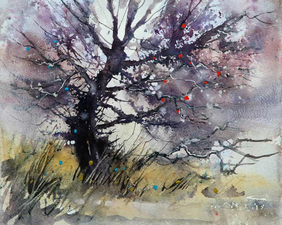 Rex Beanland, Glenmore Tree, watercolour, 9 x 12