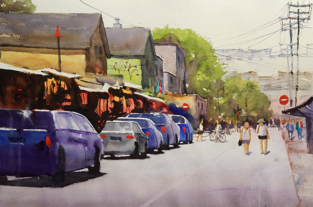 Rex Beanland, Kensington Market Colour, watercolour, 15 x 20