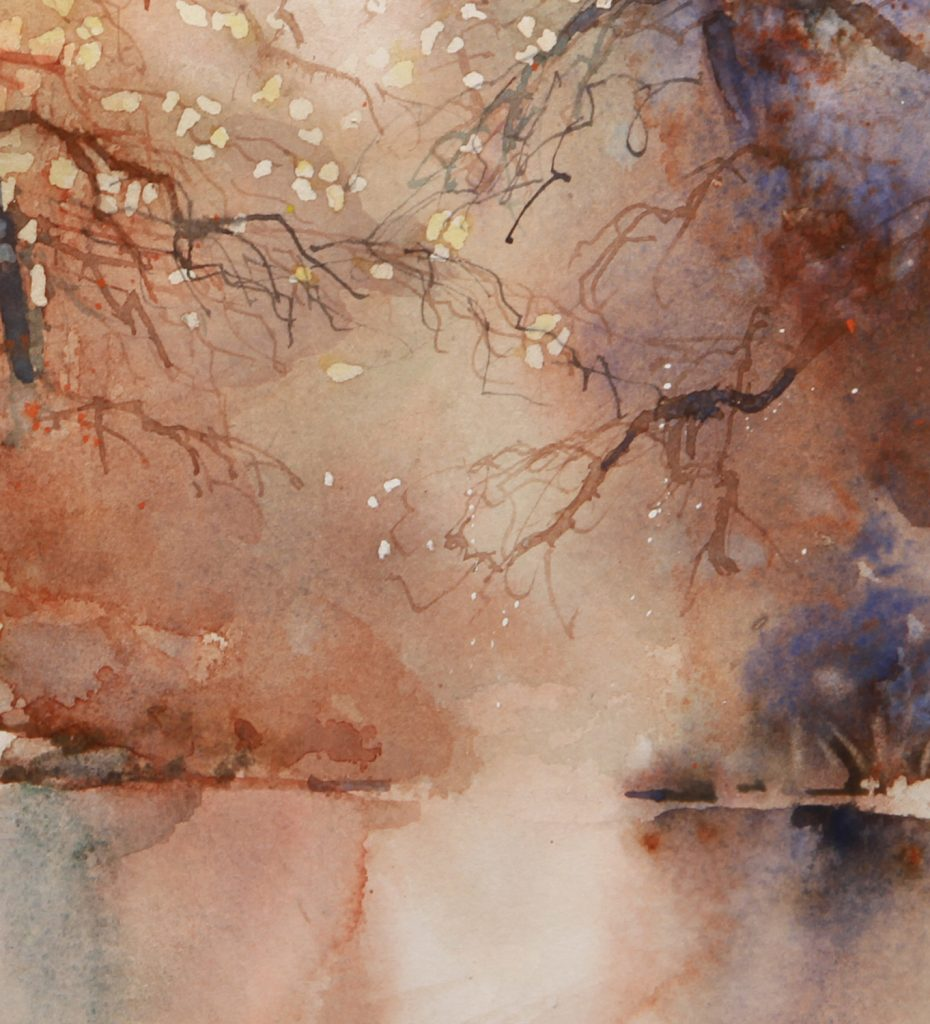 Rex Beanland, Detail from Majestic Shore - using twigs to create branches, watercolour