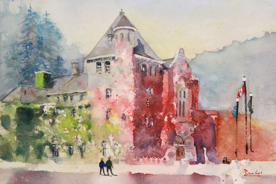 Rex Beanland, Nelson Court House Experimental, watercolour, 12 x 18