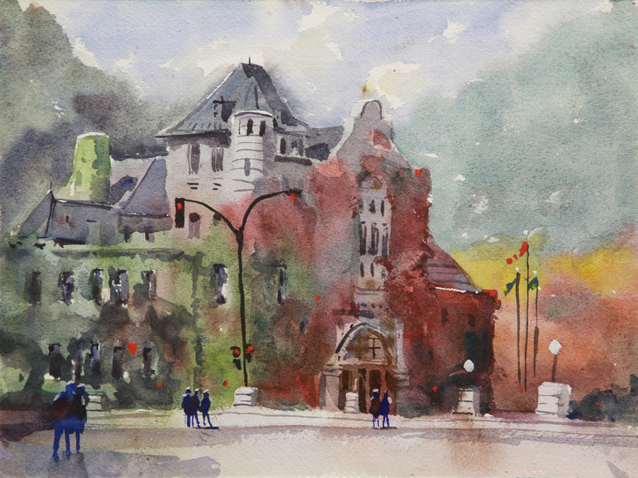 Rex Beanland, Nelson Court House Plein Air, watercolour, 9 x 12