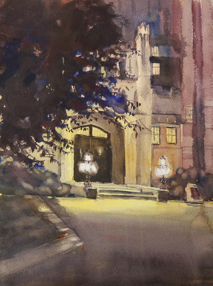 Rex Beanland, Nocturnal Painting Of Heritage Hall, watercolour, 12 x 16