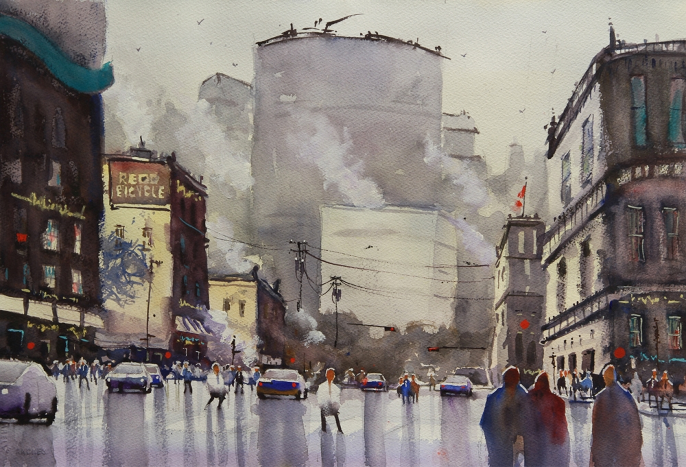 Rex Beanland, Stampede City, watercolour, 15 x 20