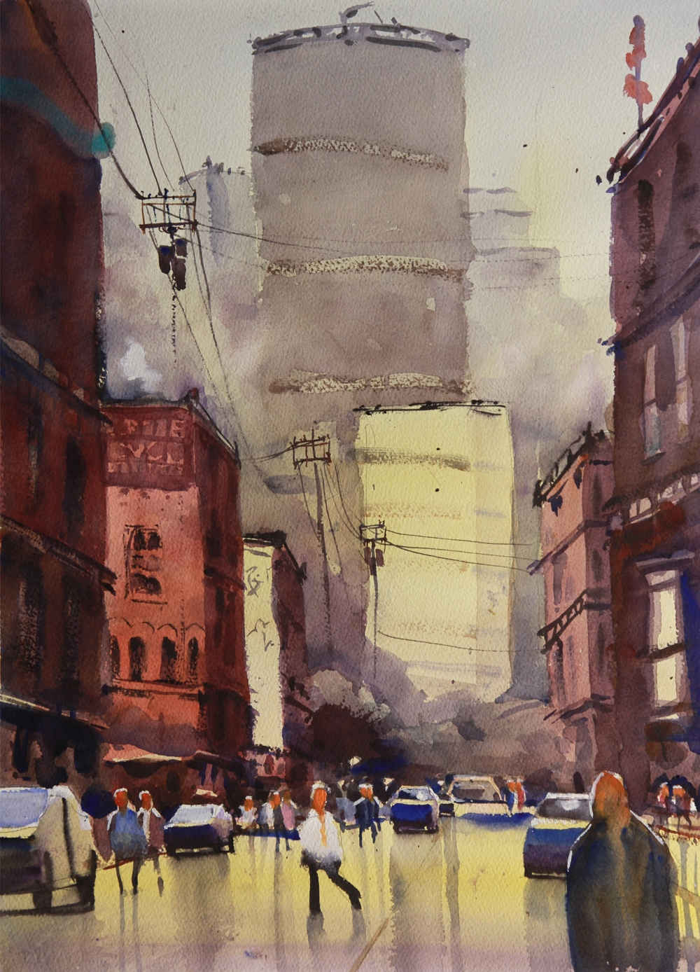 Rex Beanland, Winter Sun, Inglewood, watercolour, 15 x 20