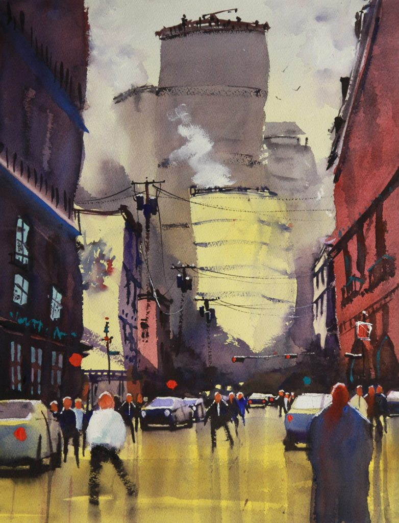 Rex Beanland, Conga Line On 9th Ave, watercolour, 20 x 15