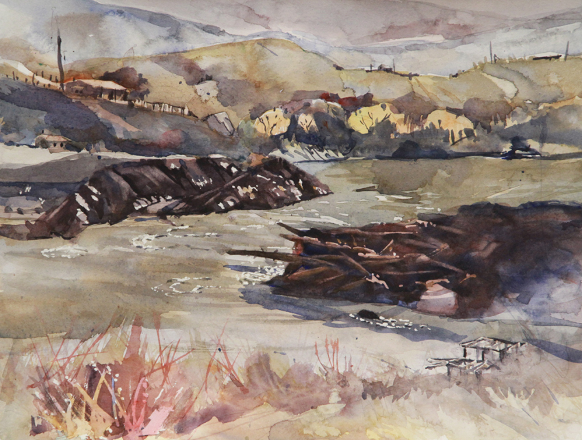Rex Beanland, Fraser River At Lillooet, watercolour, 9 x 12