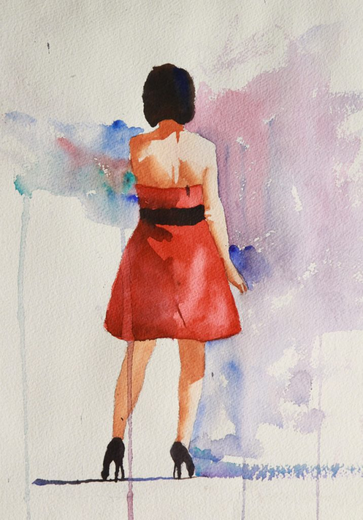 Rex Beanland, Bridesmaid Ponders,transparent watercolour, 12 x 14