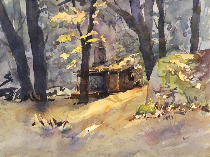 Rex Beanland, Honestead At Hope BC, watercolour, 9 x 12