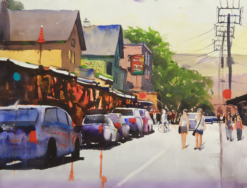 Rex Beanland, Kensington Market, watercolour, 15 x 20