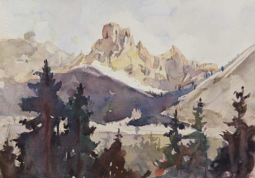 Rex Beanland, Mountains At Takakkaw Falls Campground 1, watercolour, 8 x 10