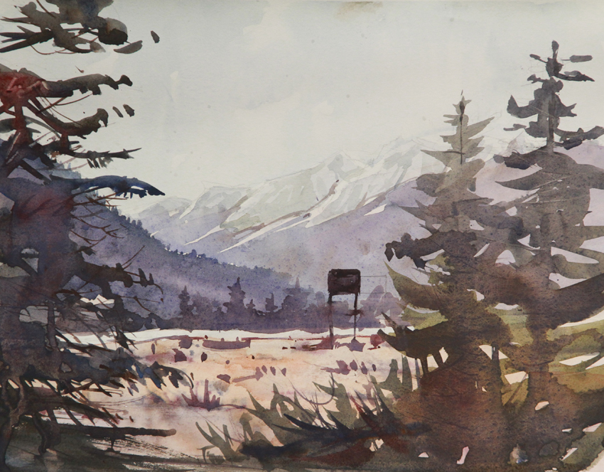 Rex Beanland, Mountains At Takakkaw Falls Campground 2, watercolour, 9 x 12