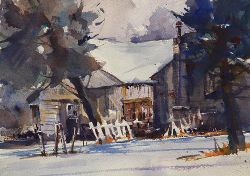 Rex Beanland, Sunny Day In Ponoka 2, watercolour, 11 x 14