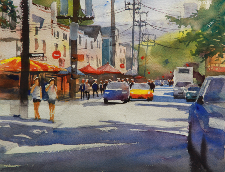 Rex Beanland, 2 Cars Kensington Market, watercolour, 9 x 12