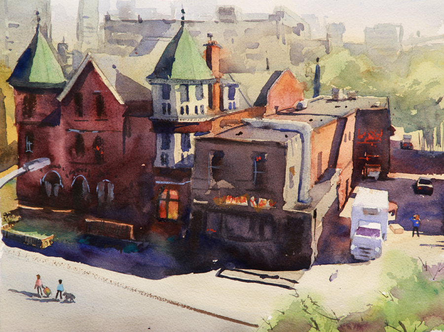 Rex Beanland, Kensington Market, watercolour, 11 x14
