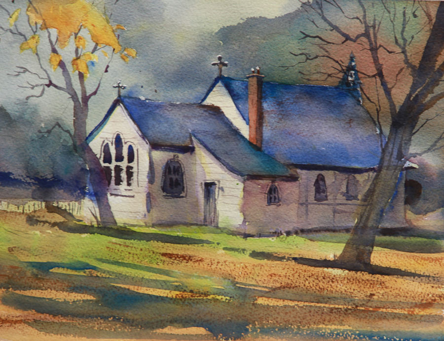 Rex Beanland, Church, Yale, BC, watercolour, 9 x 12