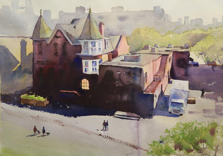 Rex Beanland, Another Look At Kensington, watercolour, 14 x 21