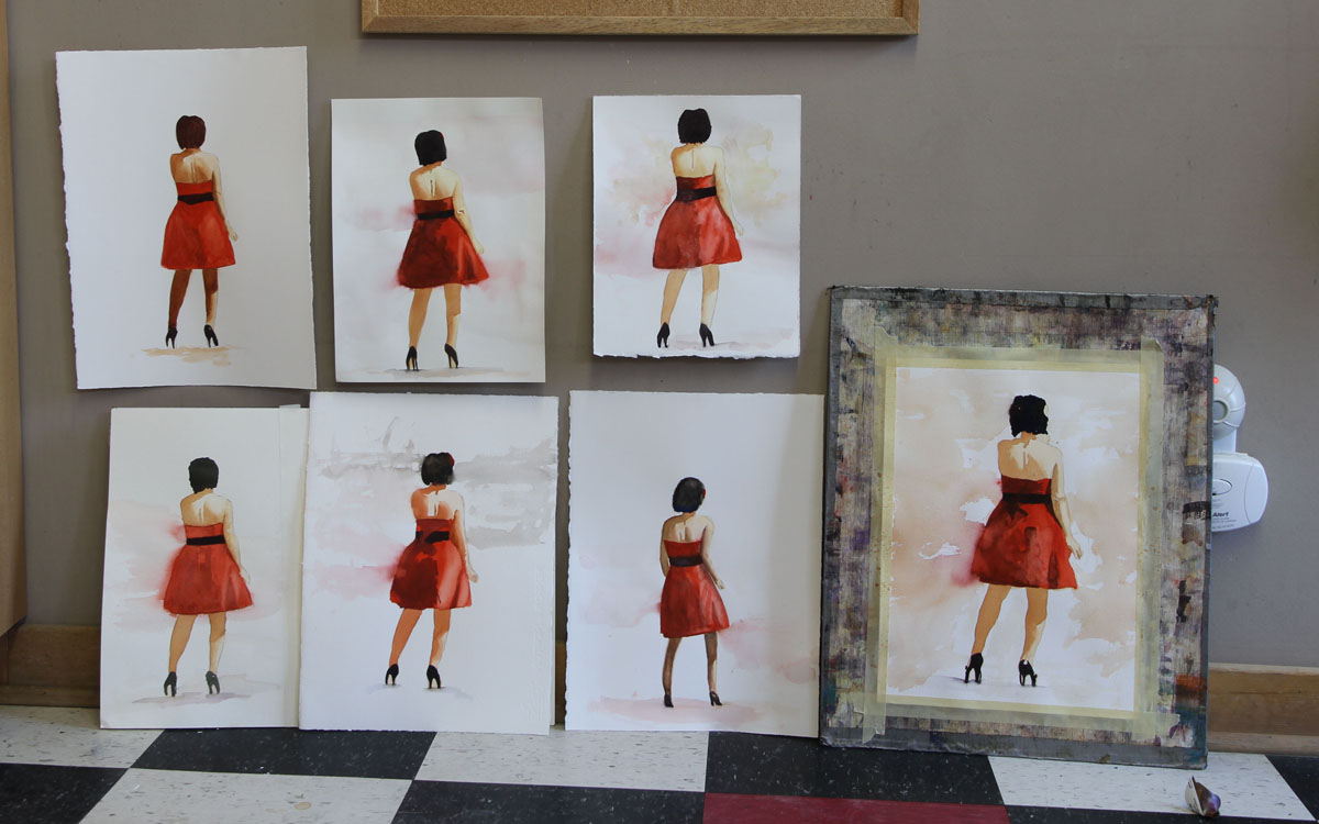 Rex Beanland, students' bridesmaids, watercolour