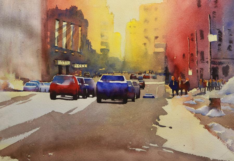 Rex Beanland, Jasper Ave, watercolour, 14 x 21