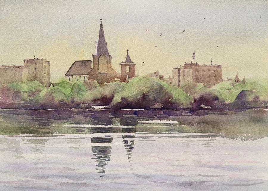 Rex Beanland, Early Morning Grande Prairie, watercolour, 11 x 15