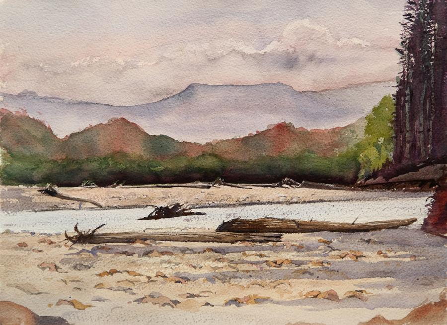 Rex Beanland, Fort Nelson Creek, watercolour, 11 x 14