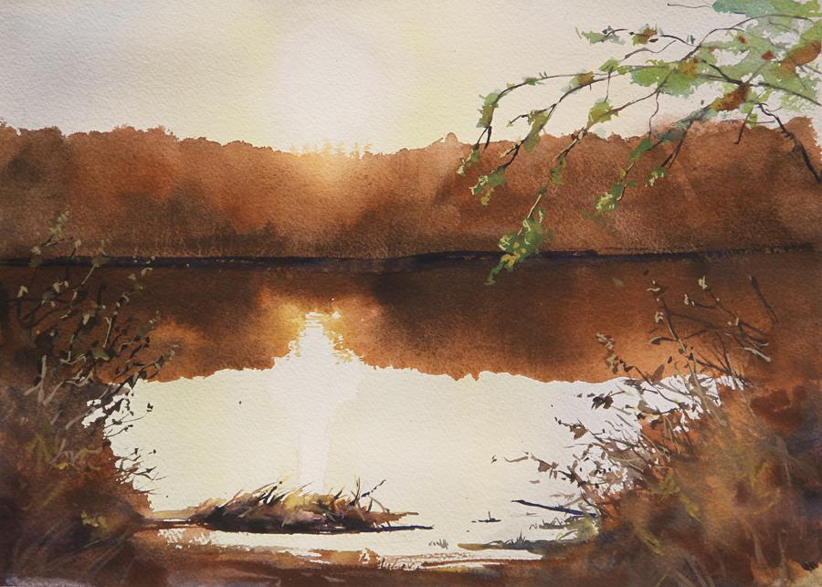 Rex Beanland, Sunrise, Grande Prairie, watercolour, 11 x 15