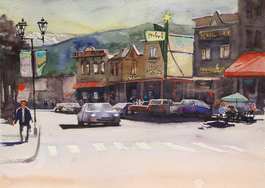 Rex Beanland, Downtown Whitehorse, watercolour, 11 x 15