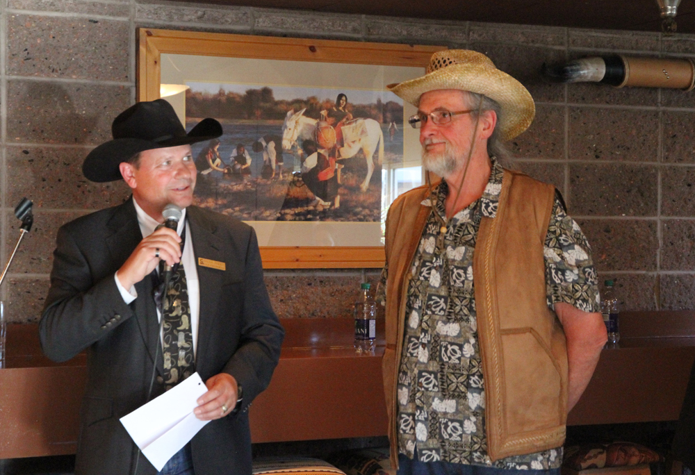 Rex Beanland, With Dana Peers, Vice Chair of Calgary Stampede, Stampede Presentation