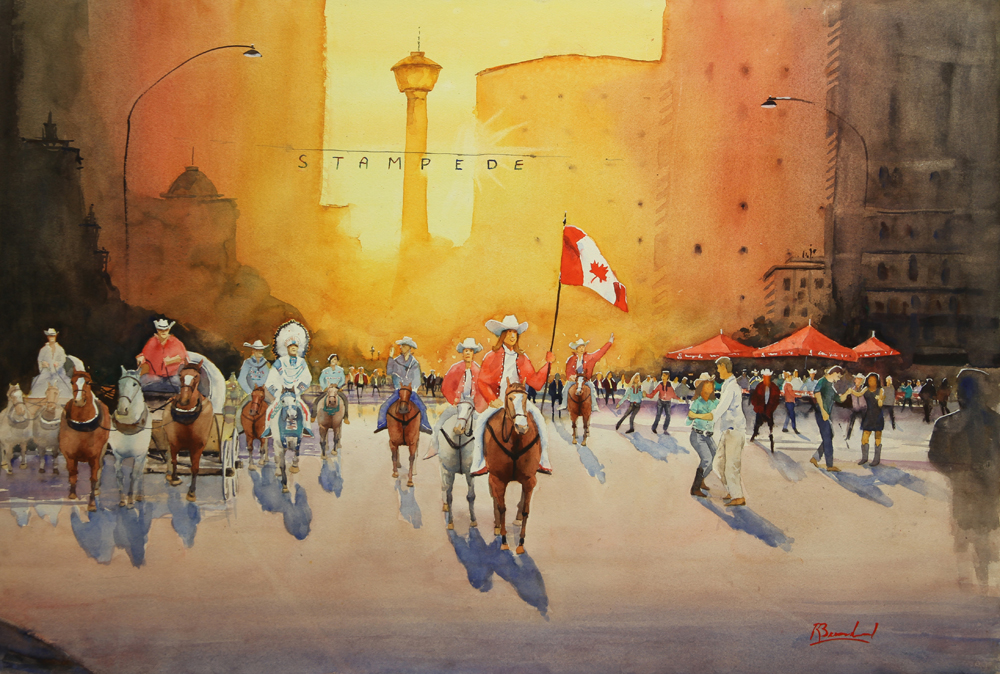 Rex Beanland, Calgary Stampede, Community Spirit, Community Involvement, watercolour 24 x 36