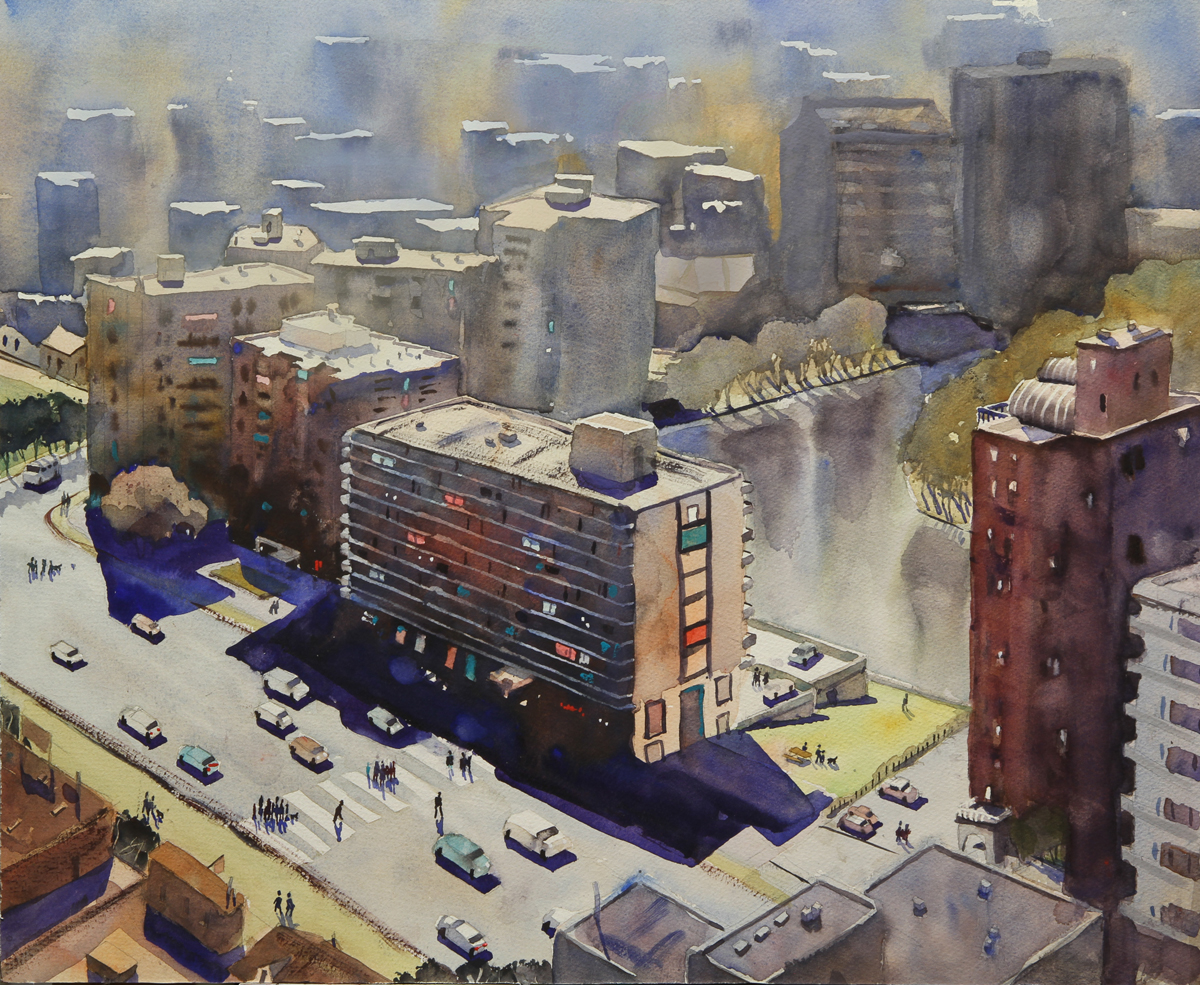 Rex Beanland, Winnipeg From The 32nd Floor, watercolour, 16 x 20